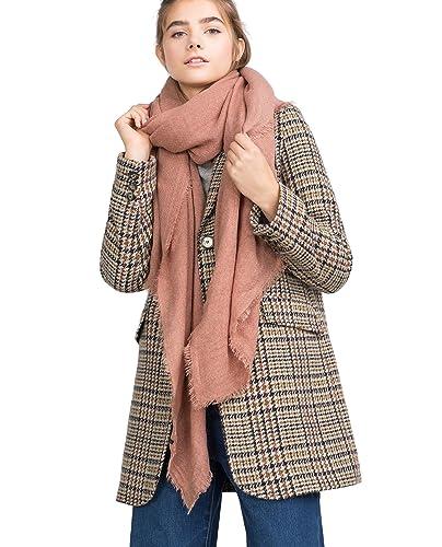 Mujer Color Sólido Suave Extra Grande Sensación De Cachemira Bufanda Estolas Chales Wrap Con Fringe(Rosa Palido)