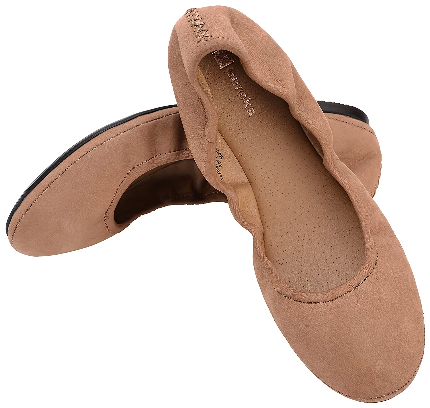 Eureka USA Women's Audrey Leather Ballet Flat B07BZZG3Z1 10 B(M) US|814 Stucco Cocoa