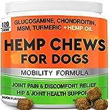 GOODGROWLIES Hemp Hip & Joint Supplement for Dogs Glucosamine, Chondroitin, MSM, Turmeric, Hemp Seed Oil & Hemp Protein for J