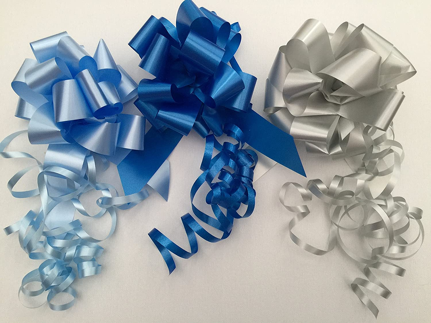 31mm PULL BOW pack 3 Astic Group - Light Blue,Royal Blue, Silver colours as picture (sent flat packed) DIY-Gift-Baskets