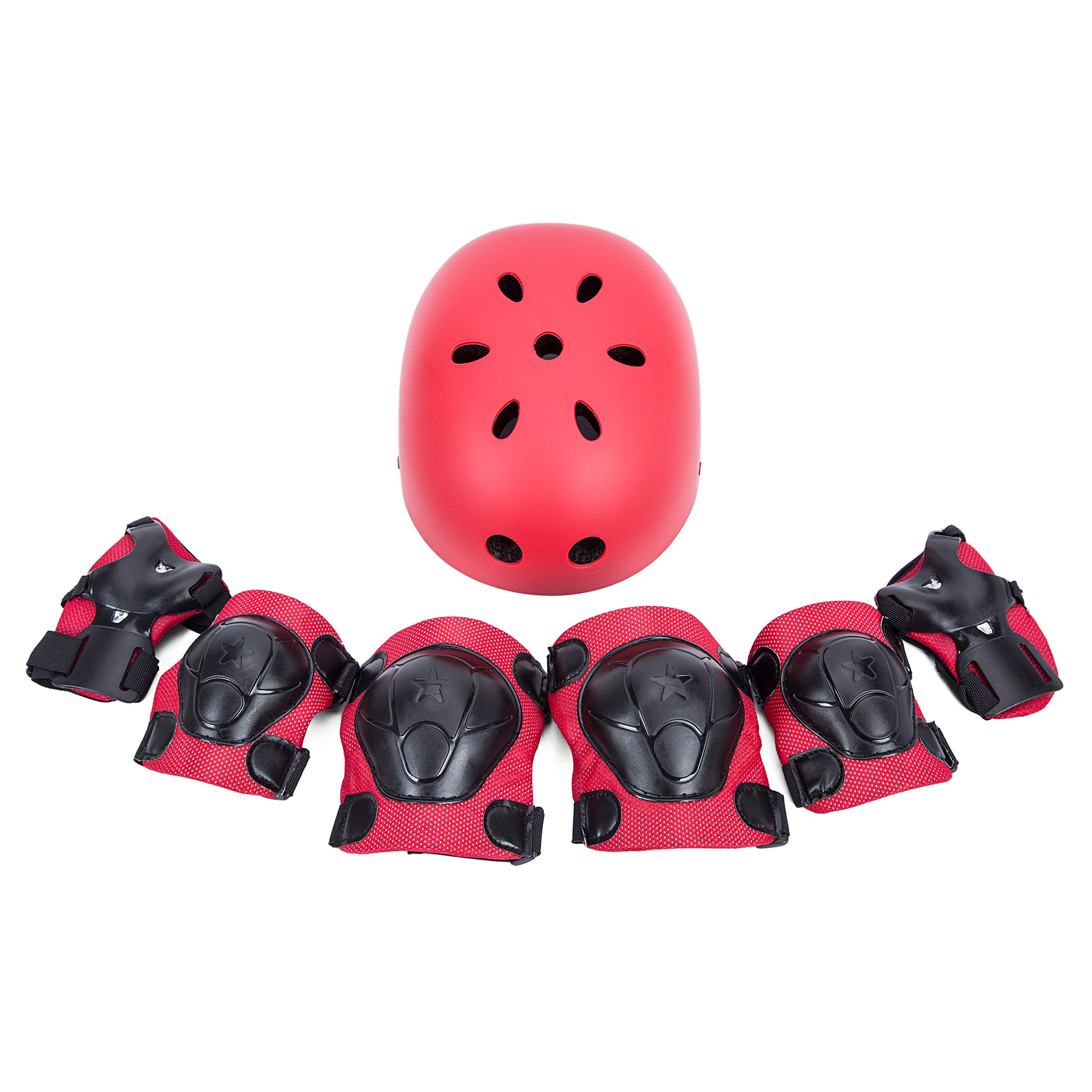 SUNVP Kid's Bike Helmet with 7 Pieces Protect Gear Sets Knee/Elbow/Wrist Pads Toddler Adjustable Bicycle Cycle Helmet for Road Mountain Skateboard Scooter(Red)