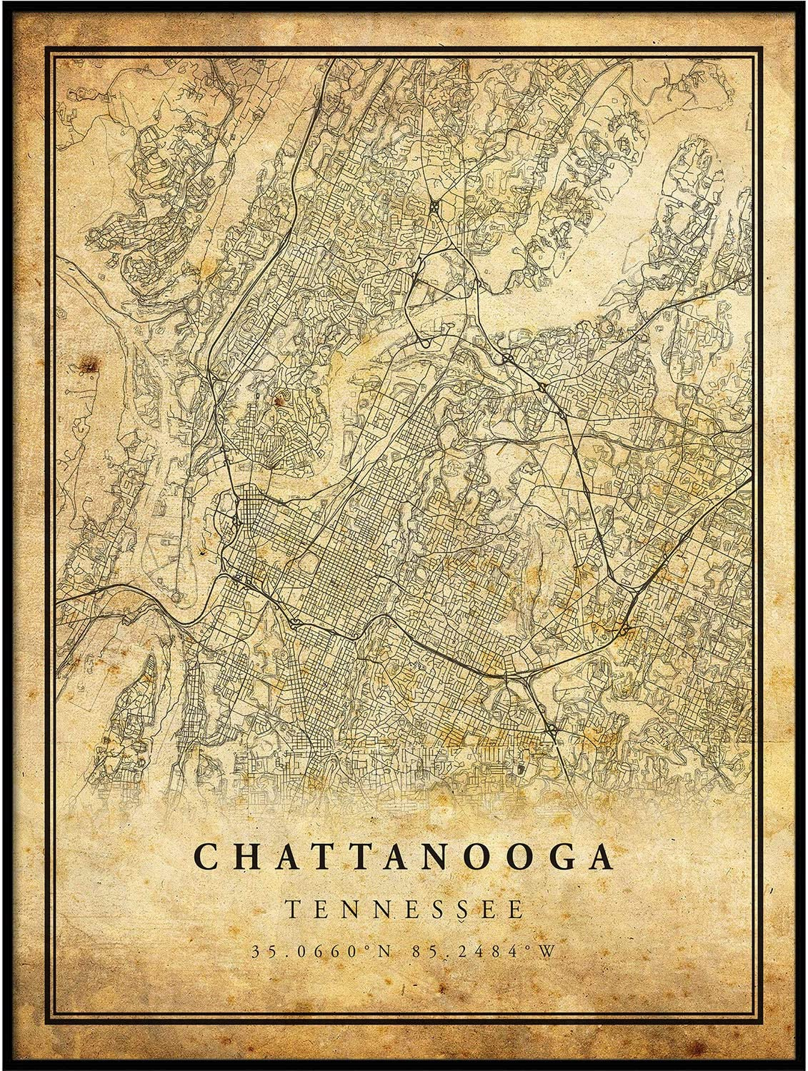 Chattanooga map Vintage Style Poster Print | Old City Artwork Prints | Antique Style Home Decor | Tennessee Wall Art Gift | map Antique 8.5x11