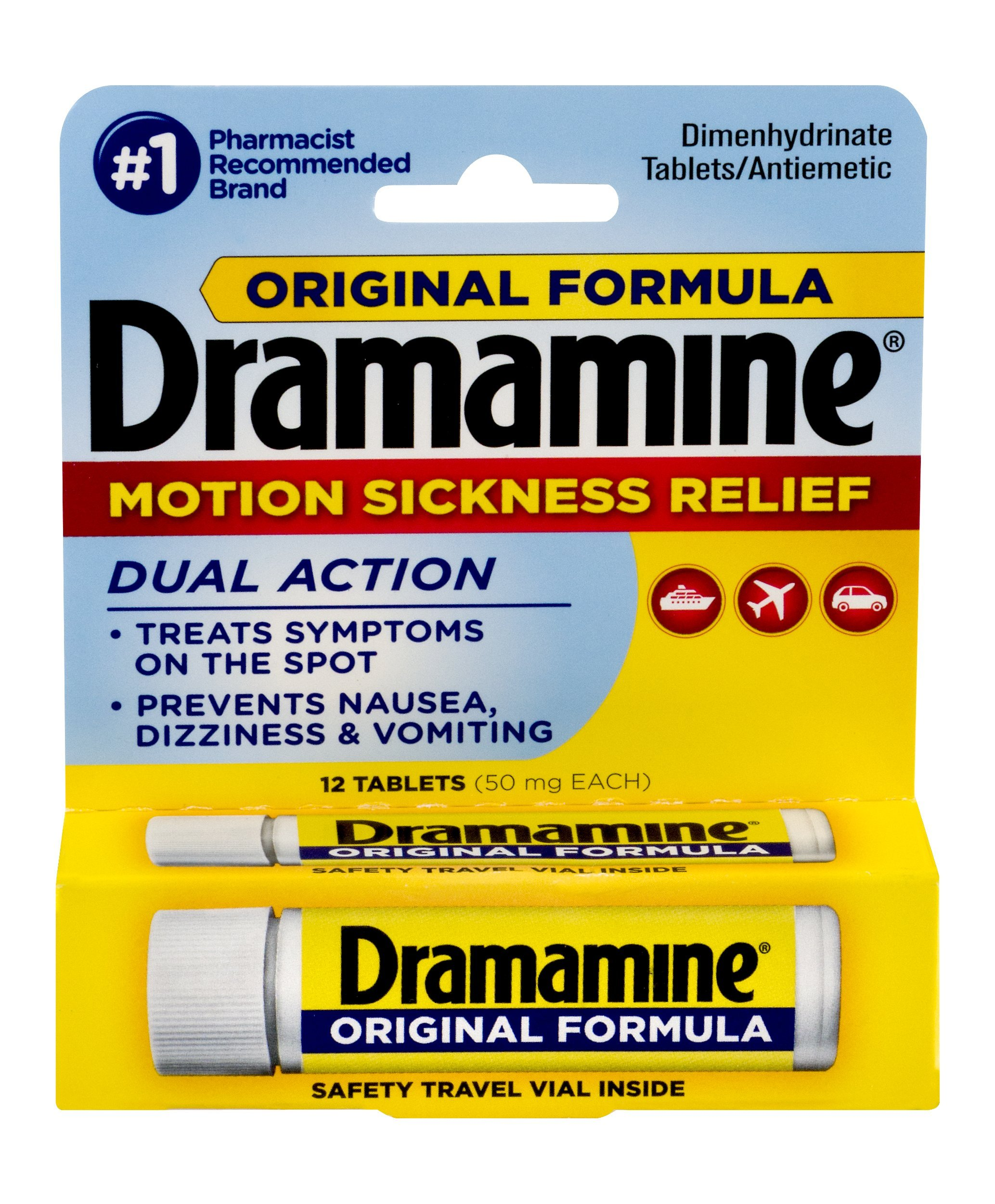 Dramamine Original Formula Motion Sickness Relief, 12 Count,  Pack of 6 by Dramamine
