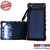 REPOWR 16000mAh Solar Power Bank with Flashlight IP67 Waterproof Portable Charger Outdoor Dual USB Phone Battery Pack (Red)