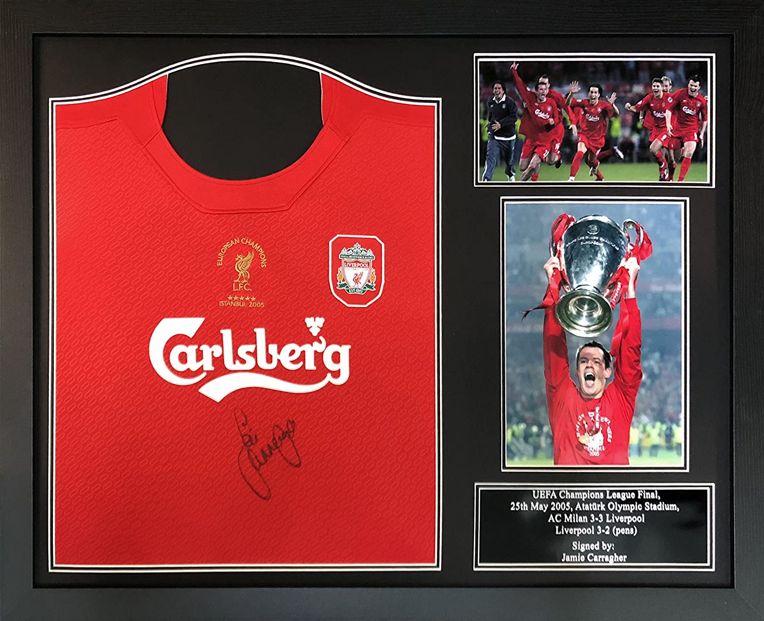 a9769cea1a8 Jamie Carragher signed   framed Liverpool 2005 Champions League Final shirt  with COA and proof  Amazon.co.uk  Sports   Outdoors