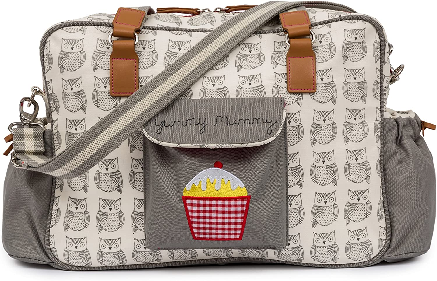 Brand New Pink Lining Yummy Mummy Baby Changing Nappy Bag Navy Bows
