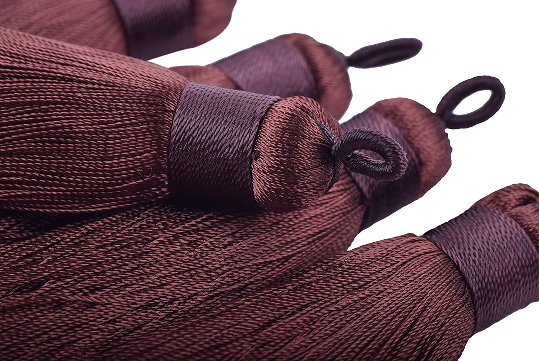 8.5cm Aqua Handmade Imitation Silk Tassels with Hanging Loop for Jewelry Making KONMAY 10pcs 3.4