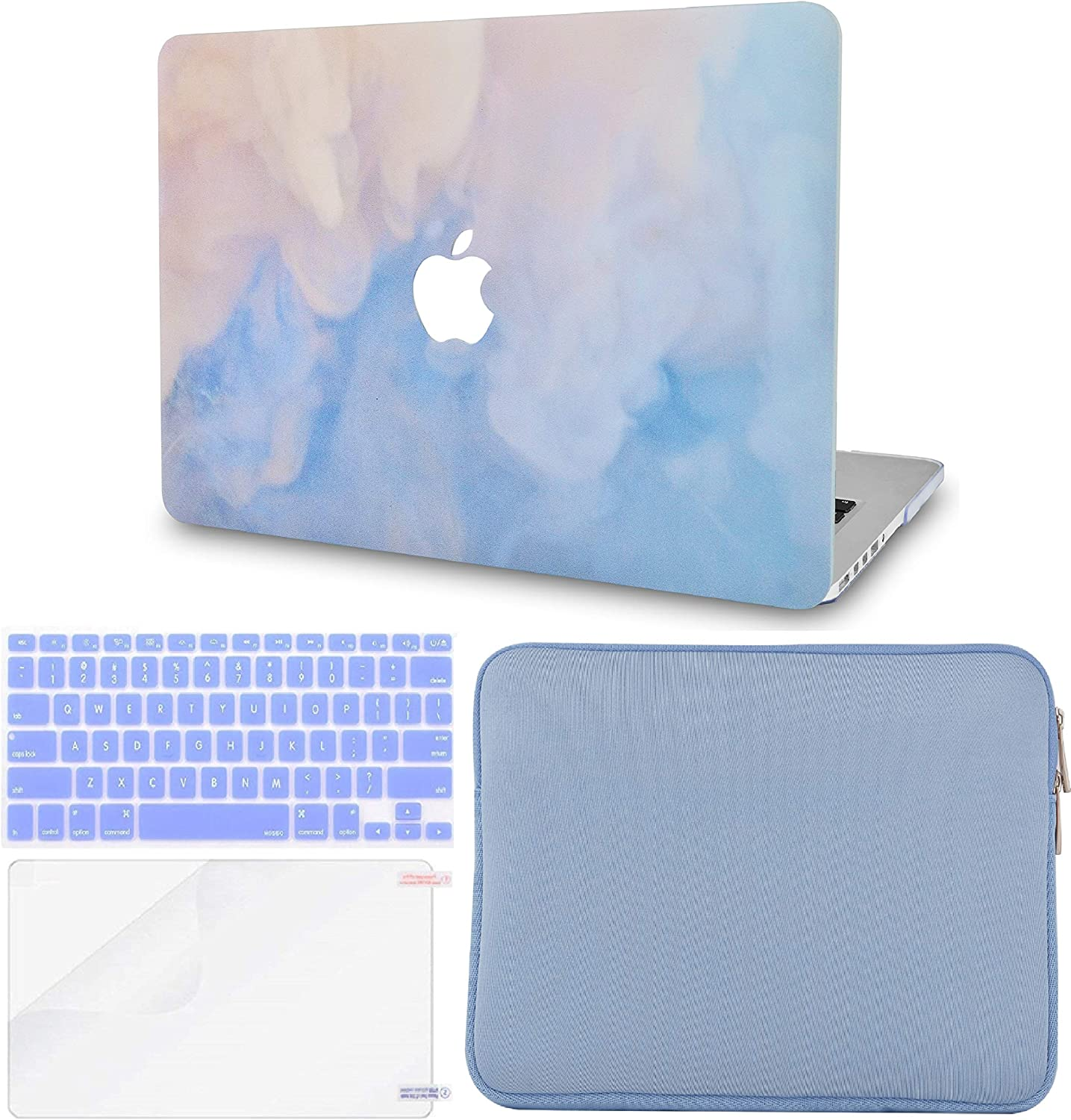 """LuvCase 4in1 LaptopCase forMacBookPro 13""""(2020/2019/2018/2017/2016) w/wo Touch Bar A2159/A1989/A1706/A1708 HardShell Cover, Slim Sleeve, Keyboard Cover & Screen Protector (Blue Mist)"""