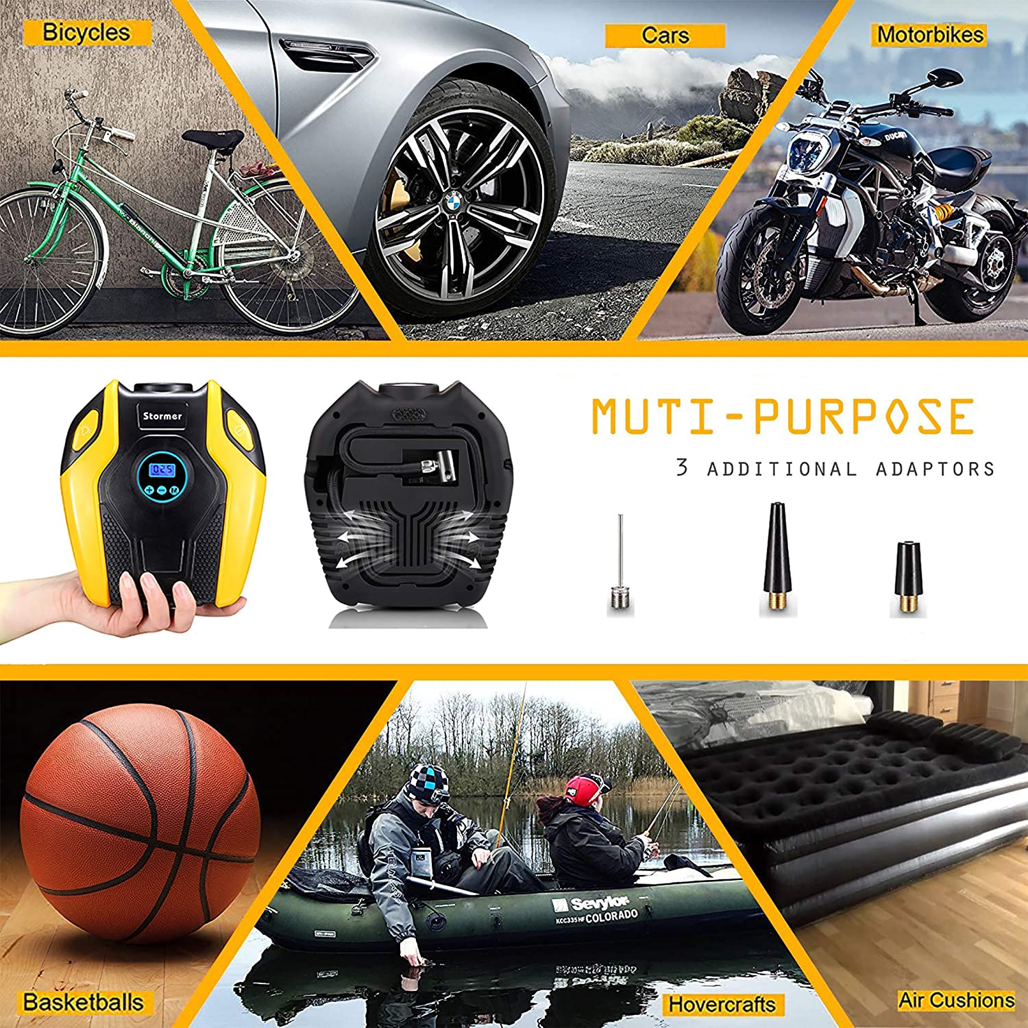Bicycle and Other Inflatable /… STORMER Air Compressor Pump Tire Inflator 12V DC Portable Auto Tire Pump with Digital Display up to 152PSI for Car