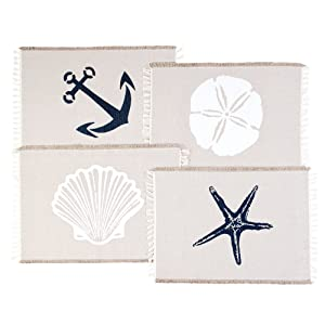 Living Fashions Table Placemats Set By 4 Beach Themed Nautical Kitchen Place Mats For The Dining Table Made With 100% Washable Cotton - Seashell, Sand Dollar, Starfish & Anchor Designs With Fringes