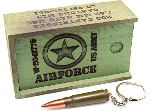Llavero con Forma de Bala Verde con Caja de munición de Madera ...