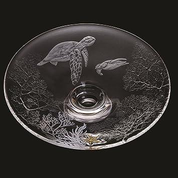 Dartington Crystal hecha a mano - Tortugas - Bandeja grande - edición limitada número 2 de 10 galería colección 50th aniversario grabada a mano coral gama ...