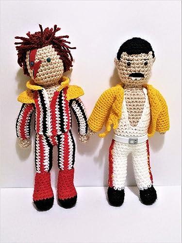 Freddie Mercury y David Bowie de amigurumi 23 centimetros: Amazon ...