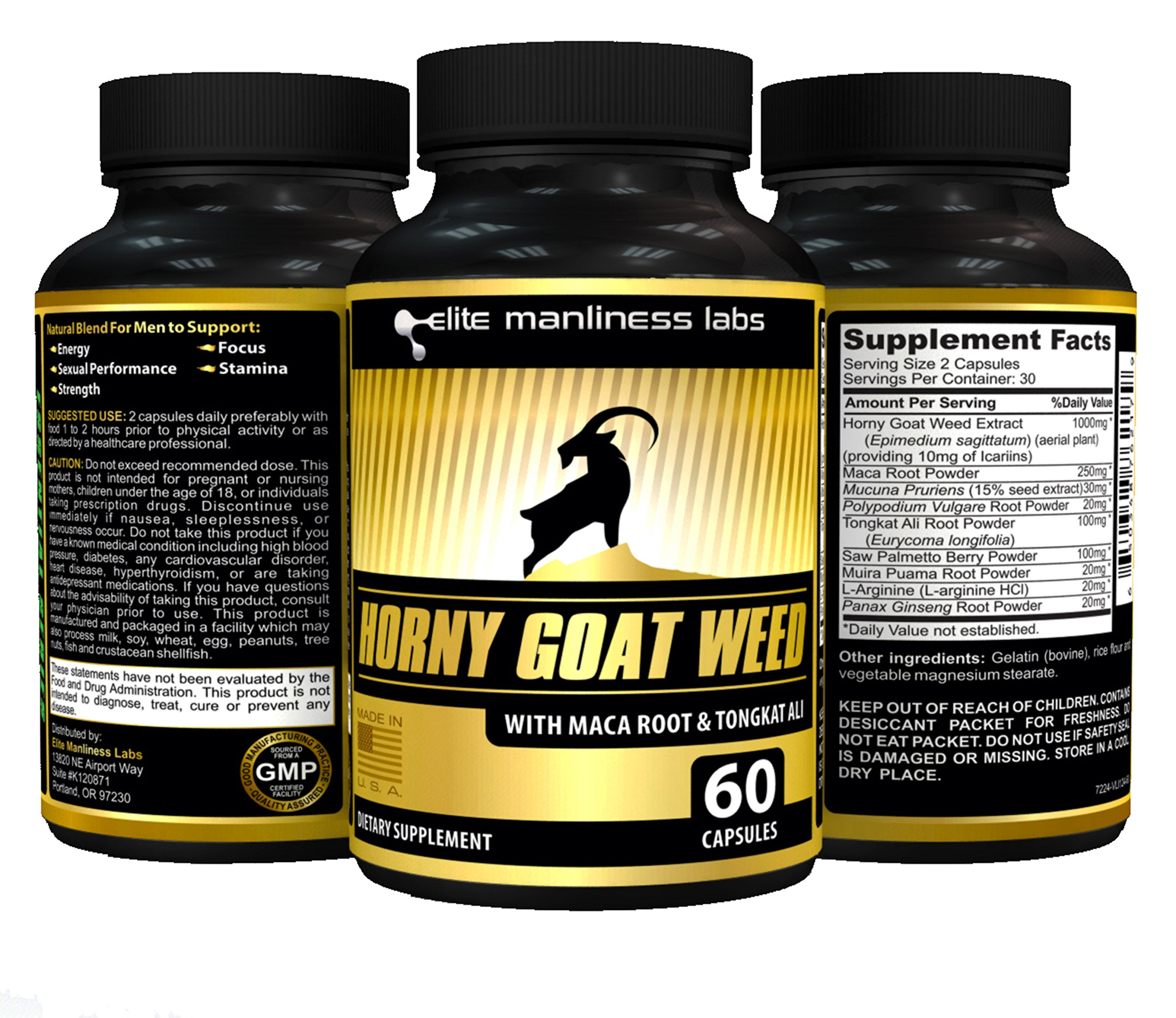 Horny Goat Weed With Tongkat Ali, Maca Root Extract & L-Arginine - Natural Herbal Complex Extract For Men (60 Capsules)
