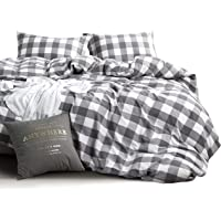 Plaid Quilt Cover Set - by Wake In Cloud, 100% Washed Cotton Doona Cover Bedding Set, Buffalo Check Gingham Plaid…