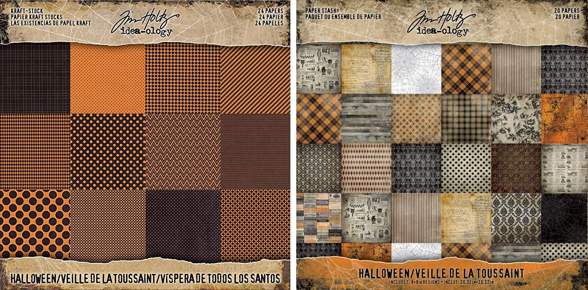 Tim Holtz Idea-ology 2017 Halloween Kraft Cardstock Pad and 2018 Halloween Paper Stash Pad - Two Items