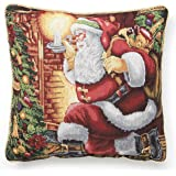 "Violet Linen Decorative Christmas Tapestry Cushion Cover, 18"" x 18"", Santa Claus Design"