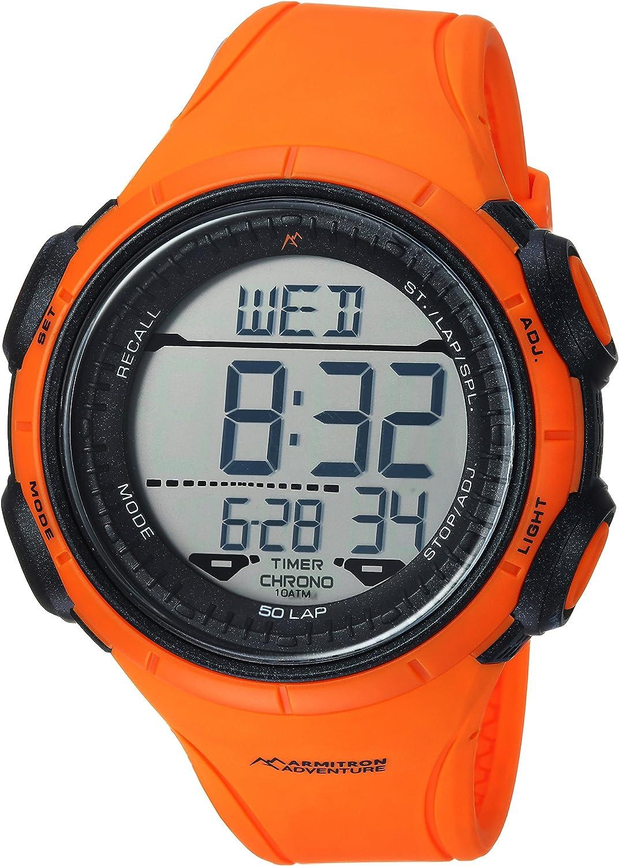 Armitron Adventure Men s AD 1013ORG Digital Chronograph Orange Resin Strap Watch