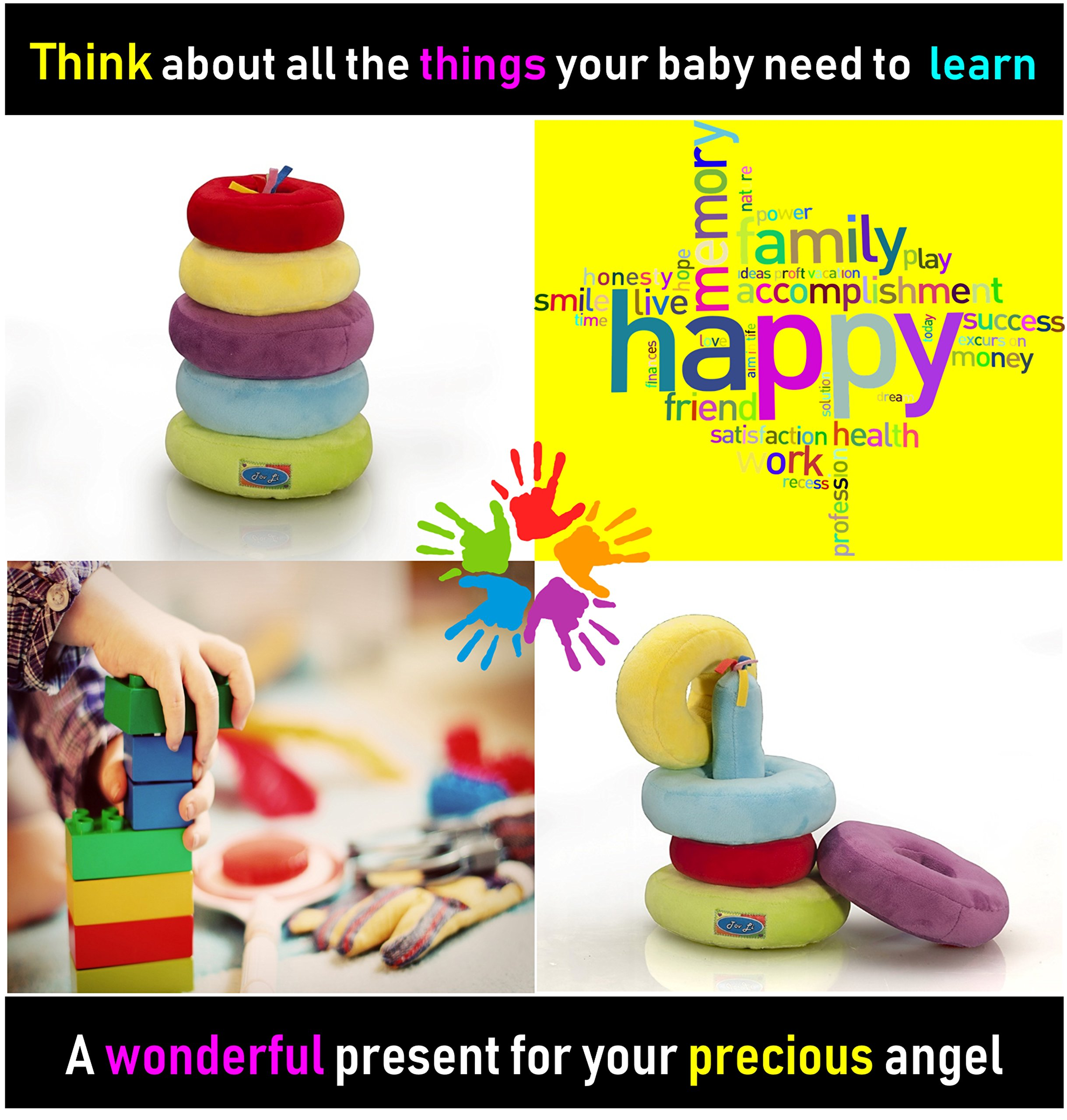 Stacking Rings Toys - Soft Stuffed Plush Educational Game for Baby Infant Toddler Kids and Young Children , Safe Colorful Shape Sorting Stacker Play for Boys and Girls.. The by Tov Li Toys (Image #4)