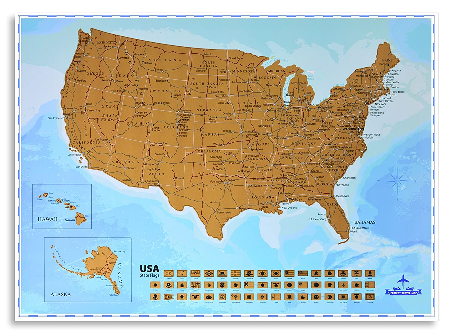 Amazon Com Usa Scratching Map Scratch Off States As You Travel