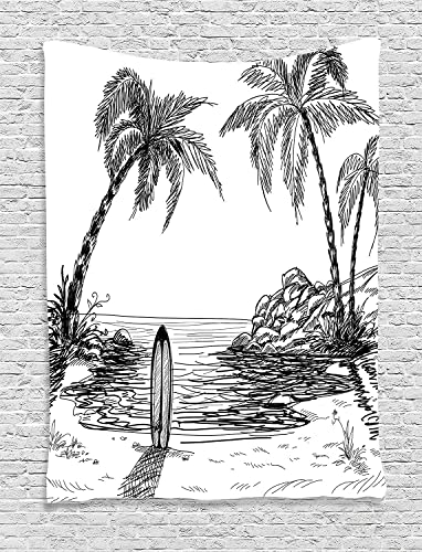 Ambesonne Surf Tapestry, Seascape with Coconut Tree and Surfboard on The Sand Summer Time Exotic Island Sketch, Wall Hanging for Bedroom Living Room Dorm Decor, 40 X 60 , White and Black