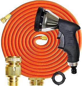 GRÜNTEK Manguera de jardín Extensible 22, 5 M Cobra Pistola de riego de 10 chorros. Kit Completo y Ligero con Conector rapido y presión de 3 a 10 Bar. para jardín, Coche
