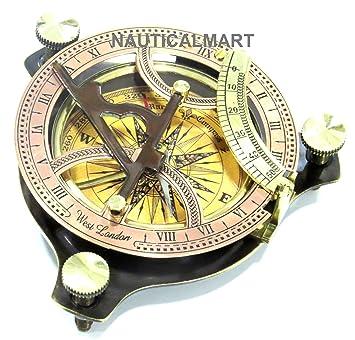 Hecho a mano latón bolsillo de reloj de sol brújula - Reloj solar latón - antigüedades oeste de Londres. Regalo hermoso tema: Amazon.es: Jardín