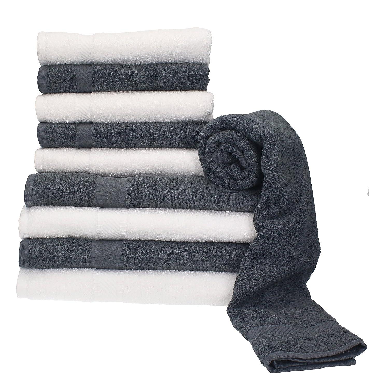 BETZ 10 Piezas Set Toallas de Mano/Ducha Serie Palermo Color Blanco y Gris 100% Algodon 6 Toallas de Mano 50x100cm 4 Toallas Ducha 70x140cm: Amazon.es: ...