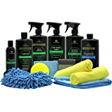Car Wash Kit Complete Detailing Supplies for Cleaning. Soap, Wax, Tire Shine, Trim Restorer, Wash Mitt, Applicator…