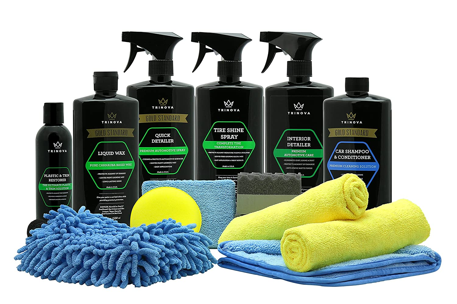 Car Wash Kit Complete Detailing Supplies For Cleaning. Soap, Wax, Tire Shine, Trim Restorer, Wash Mitt, Applicator, Microfiber Towel, Best Value To Care For Truck. Tri Nova. by Tri Nova