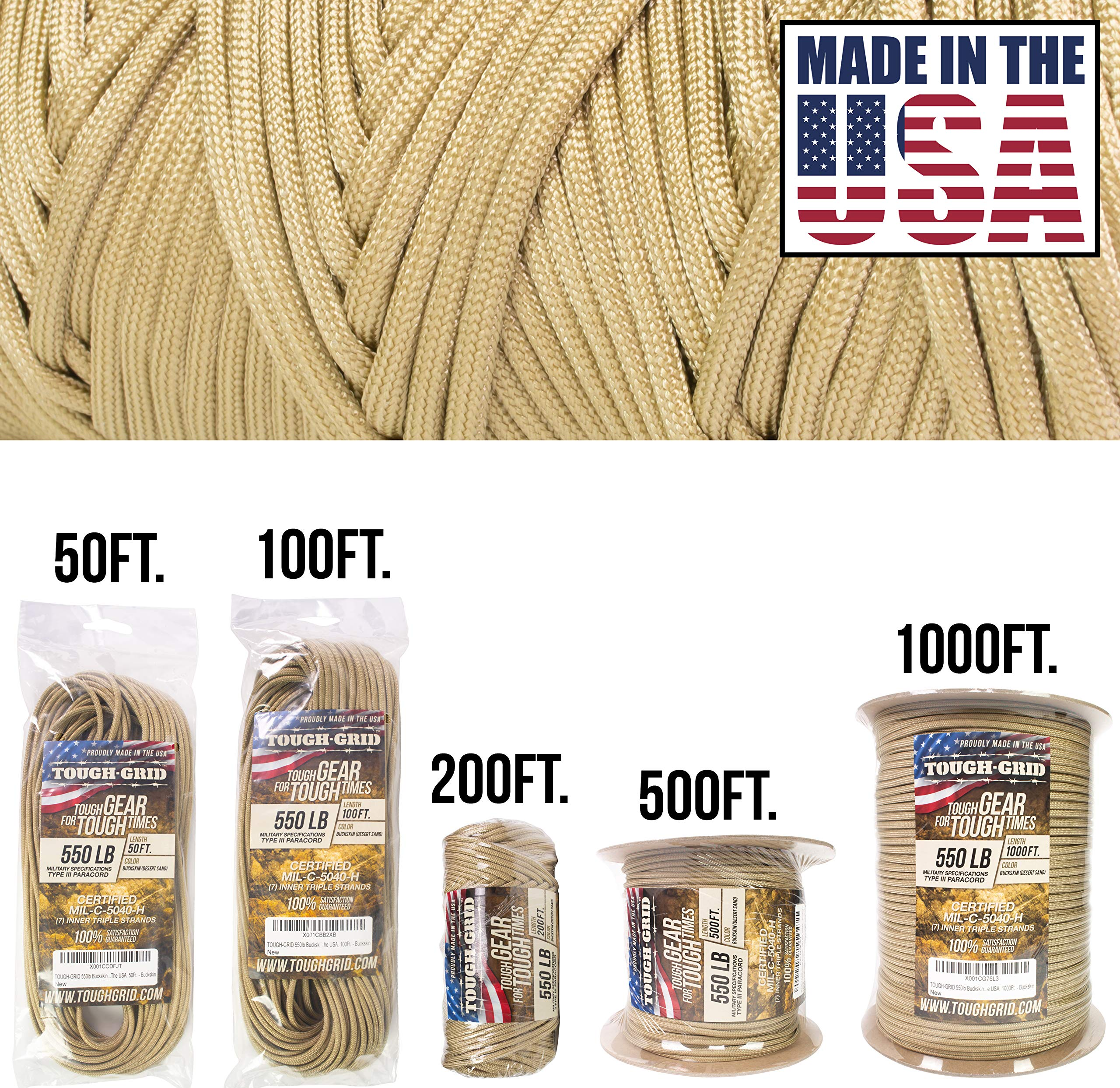 TOUGH-GRID 550lb Buckskin (Desert Sand) Paracord/Parachute Cord - 100% Nylon Genuine Mil-Spec Type III Paracord Used by The US Military - (MIL-C-5040-H) - Made in The USA. 50Ft. - Buckskin by TOUGH-GRID