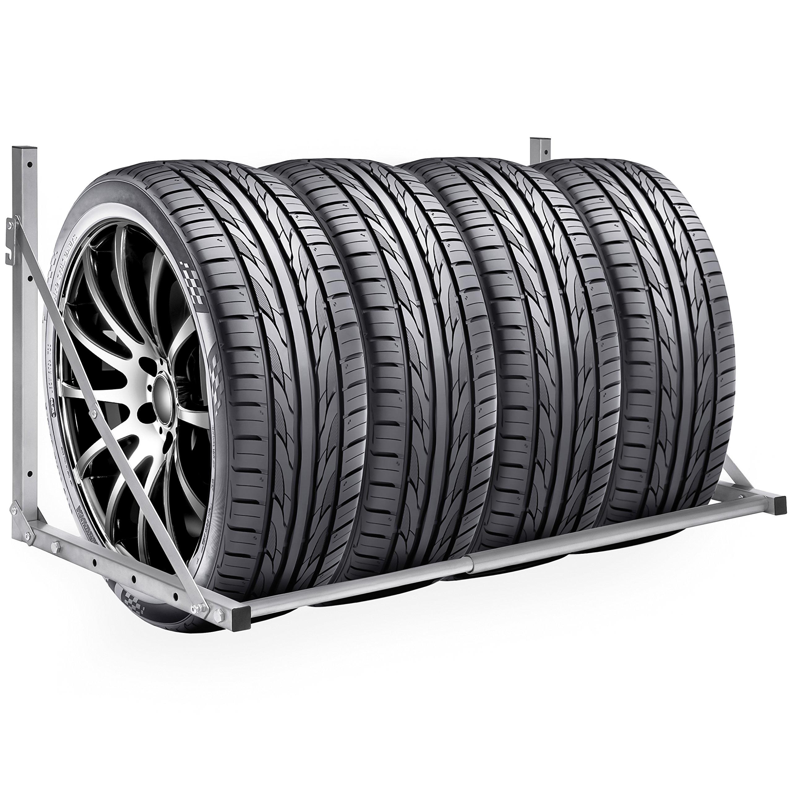 Best Choice Products Heavy Duty Steel Garage Wall Mount Folding Tire Wheel Storage Rack - Gray
