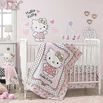 057116fae Amazon.com : Bedtime Originals Hello Kitty Luv Hearts 3 Piece Crib Bedding  Set, Pink/Gold : Baby