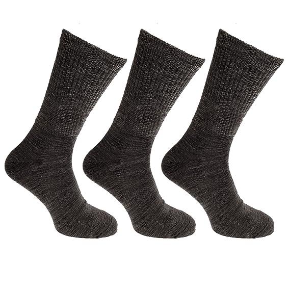 Pertemba Global Calcetines para diabéticos extra anchos de lana para hombre (3 pares) (