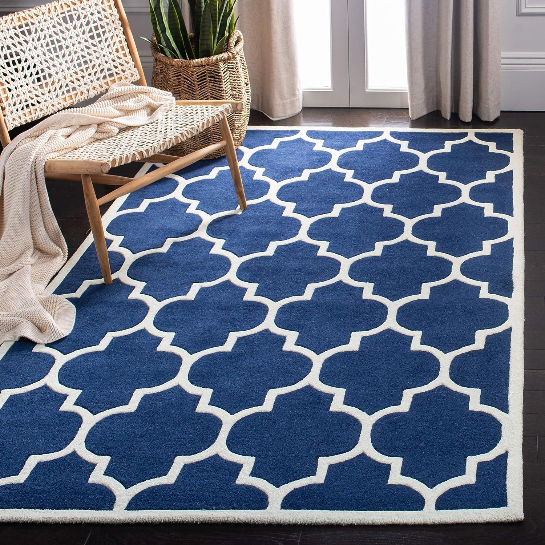 Amazon Com Safavieh Chatham Collection Cht733c Handmade Geometric Premium Wool Area Rug 6 X 9 Dark Blue Ivory Furniture Decor