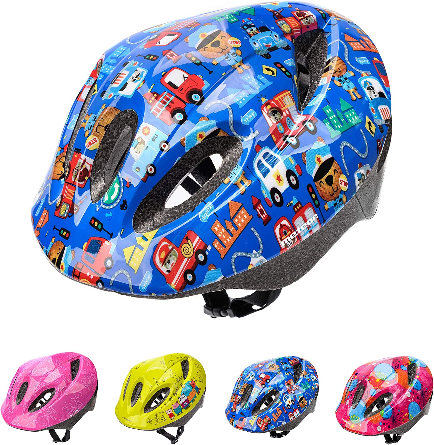 52 56cm 20 4 22 Inch Meteor Cycle Helmet For Kids Child Helmet Mtb Bike Bicycle Skateboard Scooter Hoverboard Helmet For Riding Safety Lightweight Adjustable Breathable Helmet Mv5 2 M Safe City Sports Outdoors Cycling