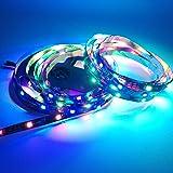 IKSACE DC12V 16.4ft 5M WS2811 1903 Étanche Programmable Rêve Couleur LED Numérique Bande 300LEDs 100ICs Pixel Cordes 5050 RGB Flexible Colorable Adressable Corde LED bande Noir 60LEDs / M IP68