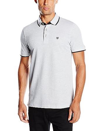 Jack and Jones Men's Paulos Plain Short Sleeve Polo Shirt, Grey (Light Grey  Melange