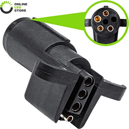 ONLINE LED STORE 7-Way Blade to 5-Way Flat Trailer Adapter Nickel-Plated Copper Terminals Rugged Nylon Housing 7-pin to 5-pin Trailer Wiring Plug Adapter Compact Design
