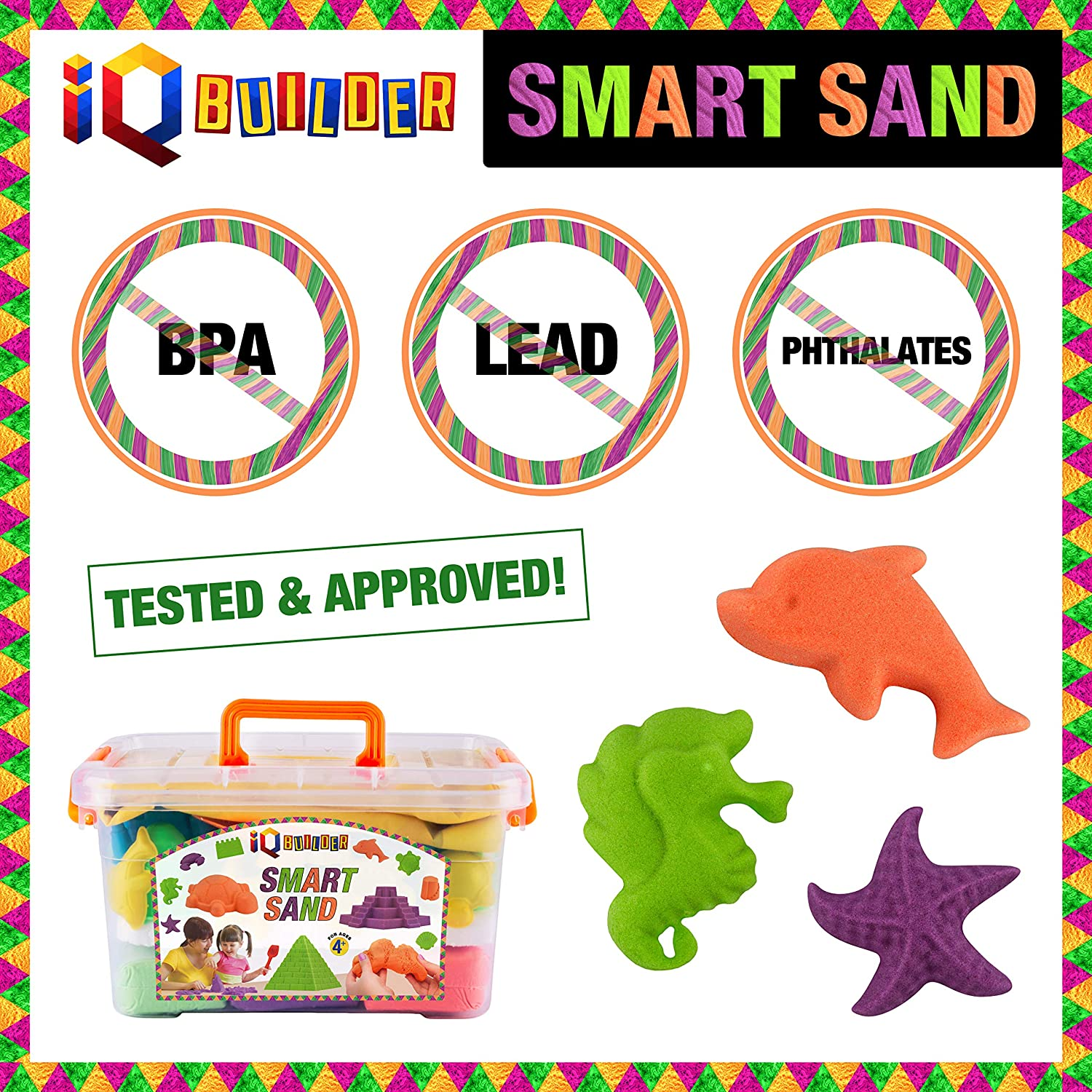 Best Toy Gift for Kids | Fun MOLDABLE Synthetic Beach Sand KIT for Children Sensory Toys Creative Educational Art Play Sand for Boys and Girls Ages 3 4 5 6 7 8 9 10 Year Old IQ BUILDER