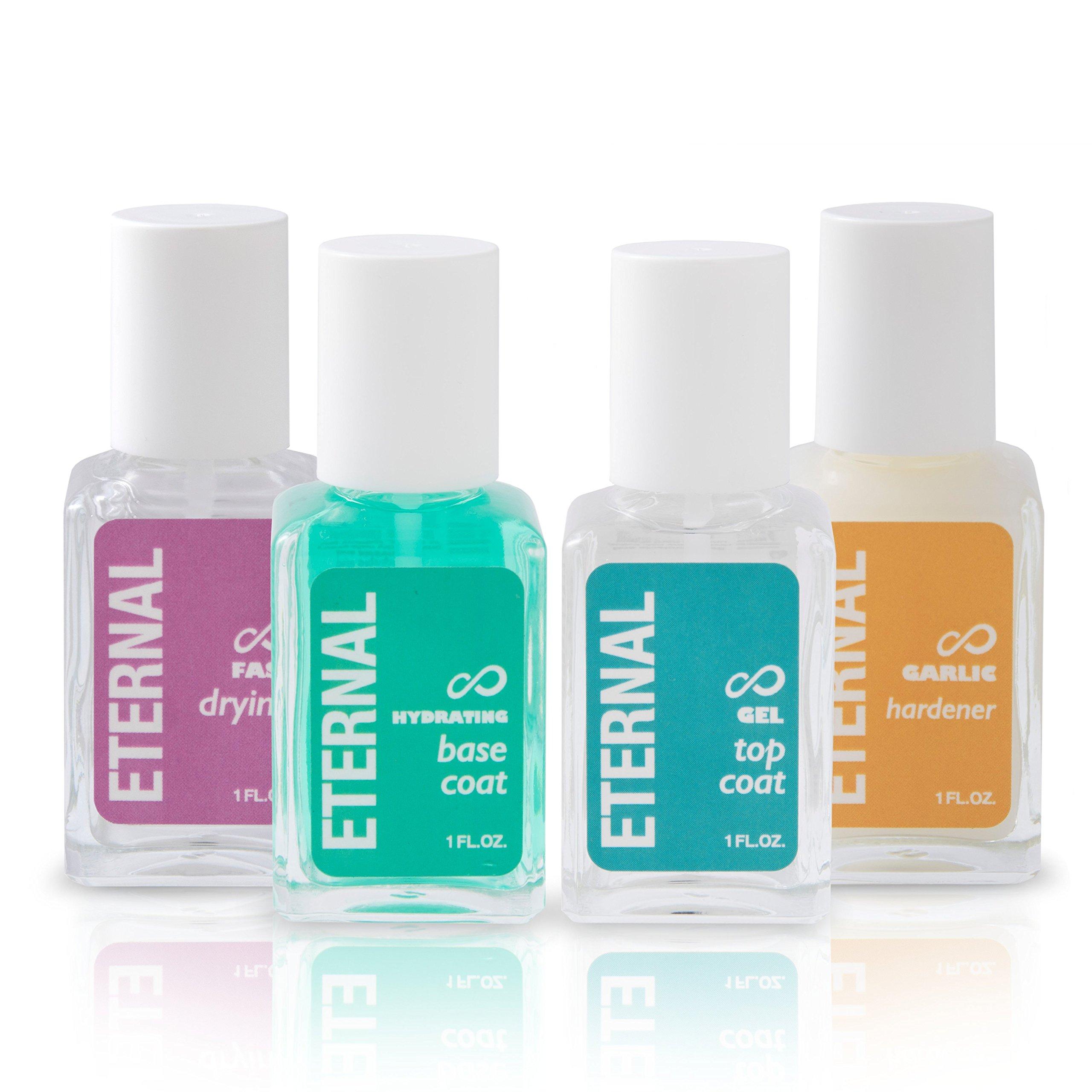 Eternal Enamel - Perfect Nails Set: Hardener, Gel Top Coat, Hydrating Base Coat & Fast Drying Polish (4 Pack - 1 FL.OZ.)