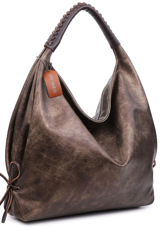 Metallic Women Large Hobo Handbag Ladies Spacious Shoulder Bag