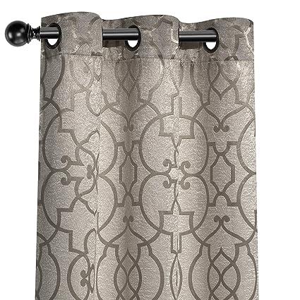GoodGram 2 Pack Palladian Lattice Heavy Duty Thermal Blackout Curtain  Panels - Assorted Colors (Palladian Golden Linen)