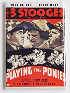 "Three Stooges ""Playing the Ponies"" Movie Poster Fridge Magnet"
