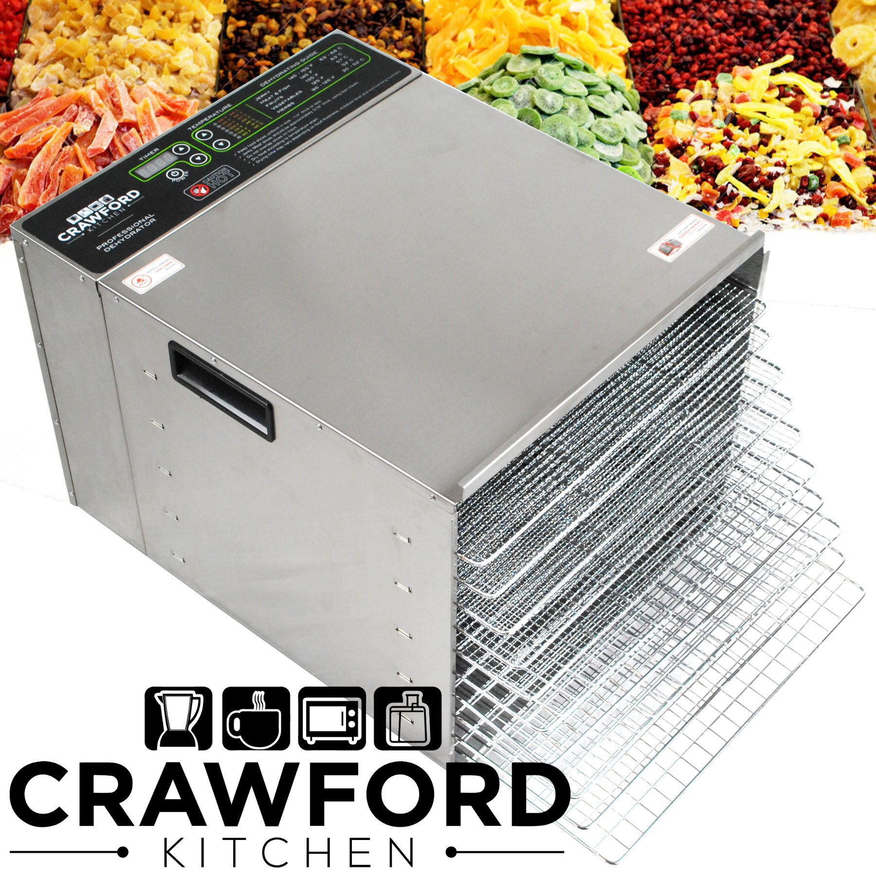 Crawford Kitchen Commercial Food Dehydrator | Stainless Steel Easy To Clean Body | Pro Quality Dehydrated Raw Food & Jerky Maker | 1000W Ultra High Effieciency Design