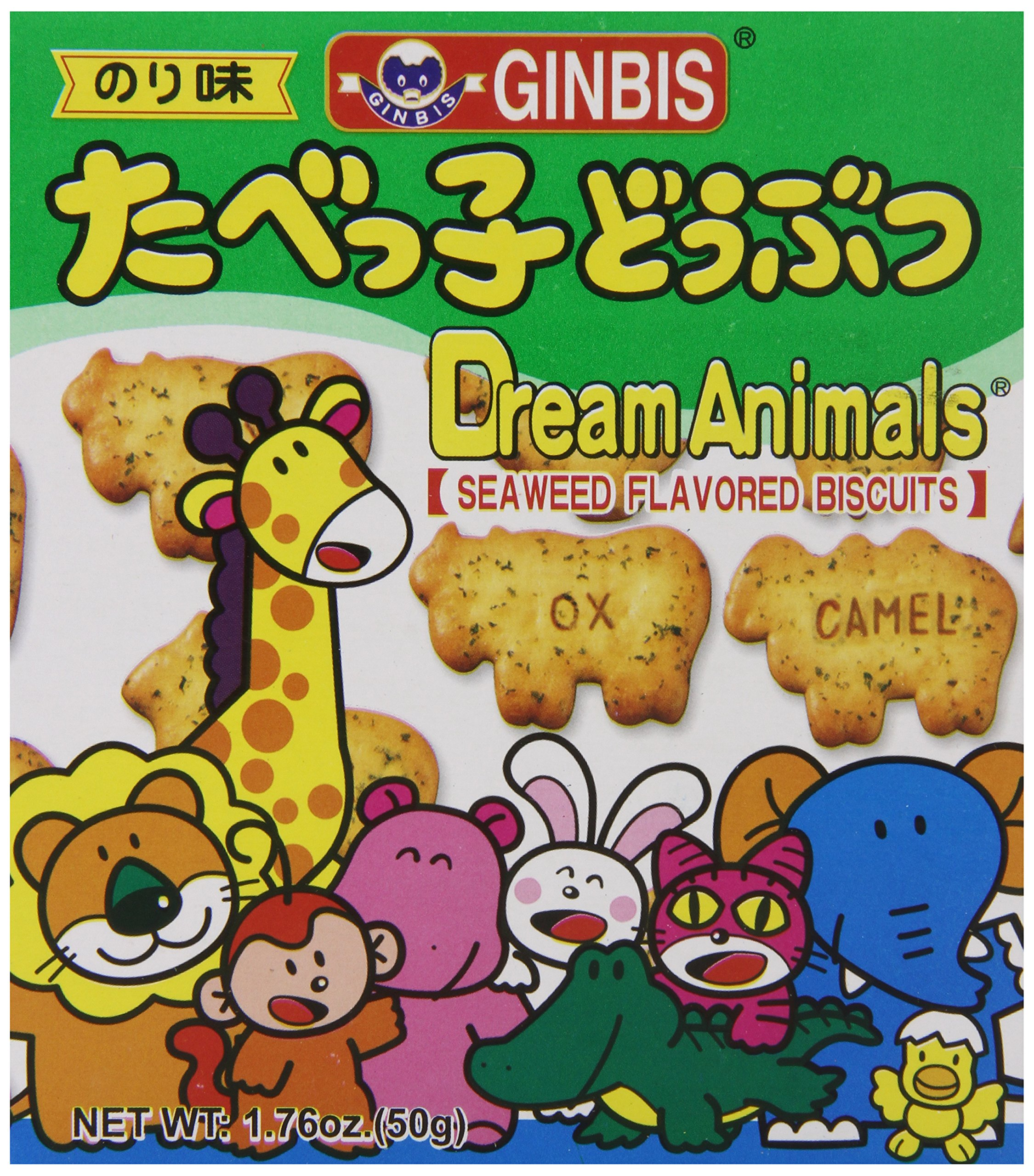 Ginbis Animal Biscuits, Seaweed, 1.76 Ounce (Pack of 24) by GINBIS