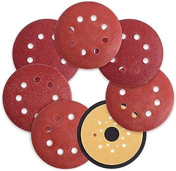 5-Inch 8-Hole Hook and Loop Sanding Discs 120-Grit Sandpaper Pad