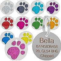 qualità 25mm GLITTER ZAMPA design animale domestico MEDAGLIETTA ID, cane , Gatto, INCISIONE GRATIS e spedizione - Rosa