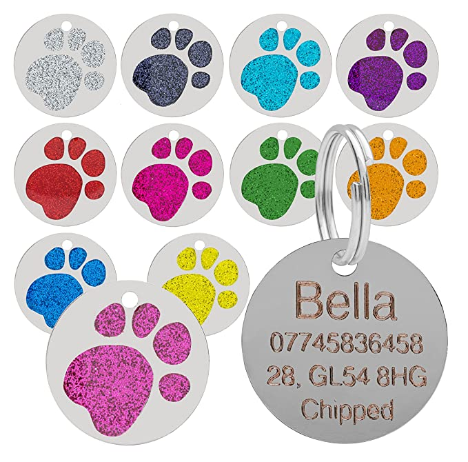 85 opinioni per qualità 25mm GLITTER ZAMPA design animale domestico MEDAGLIETTA ID, cane ,