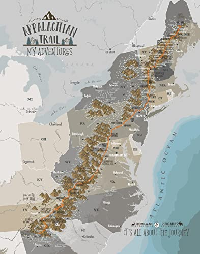 Amazon.com: Appalachian Trail Map, Push Pin Map, Foam Mounted ...